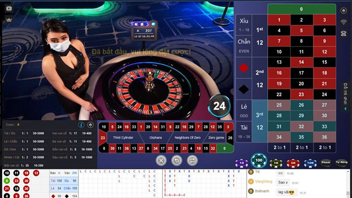 Giao diện chơi Roulette trong Kubet